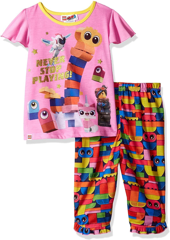 LEGO Little Movie 2 Toddler Girls Pajama Set,Short Sleeve, Pants