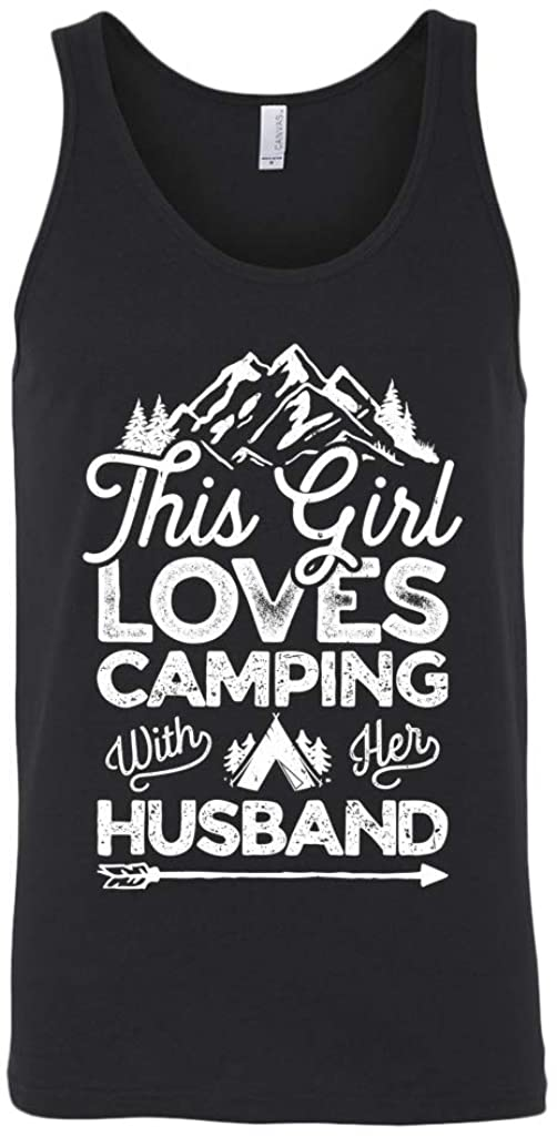 Camping Unisex Tank Top - This Girl Loves Camping with Her Husband Unisex Tank Top - Camping Gifts