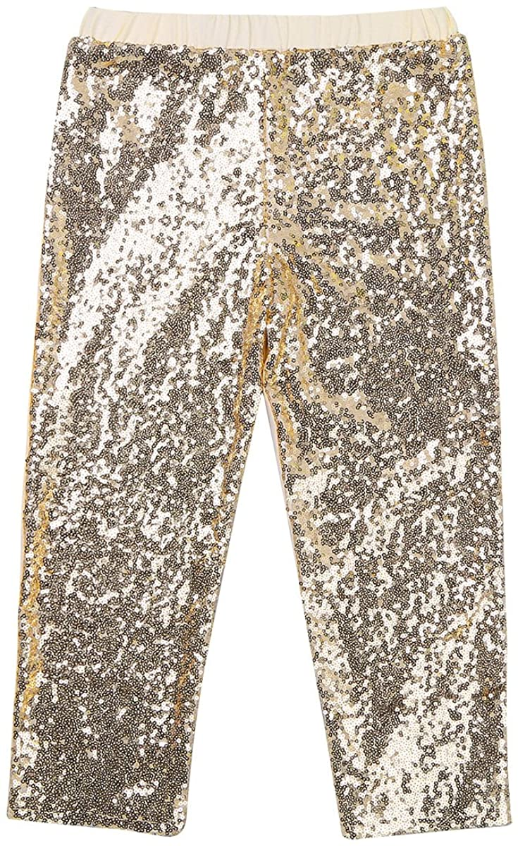 YiZYiF Girls Sparkle Sequins Long Pants Leggings Kids Shiny Clothes for Fancy Party or Dancing