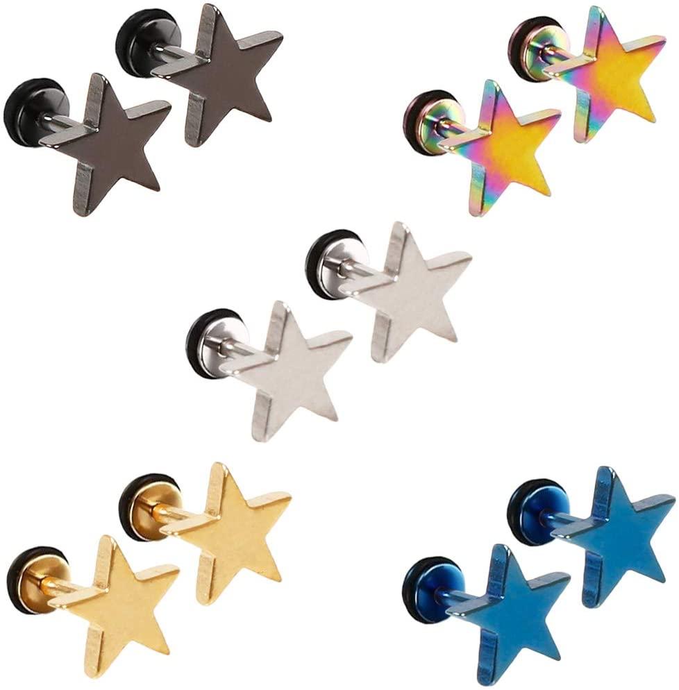 Epoch World 5 Pairs Stainless Steel Stud Earrings for Men Women Boys, Men Earrings Black, Star Earrings Men, Gold Stud Earrings, Silver Men Stud Earrings Set with Screw Backs Cool Piercing 8MM