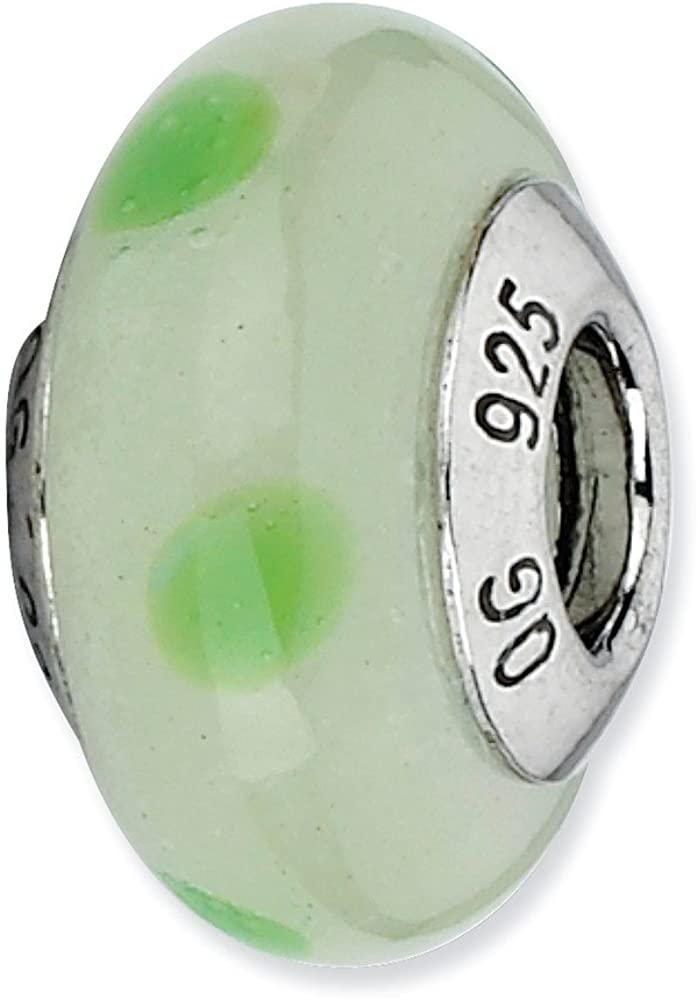 Bead Charm White Sterling Silver Glass 12.73 mm 7.27 Reflections Lt Green Withgreen Dots Italian Murano