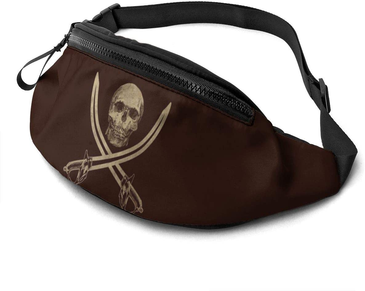 Ol' Jolly Roger Pirate Flag Large Fanny Pack For Men Women Waist Pack Bag With Headphone Jack And Zipper Pockets Adjustable Straps