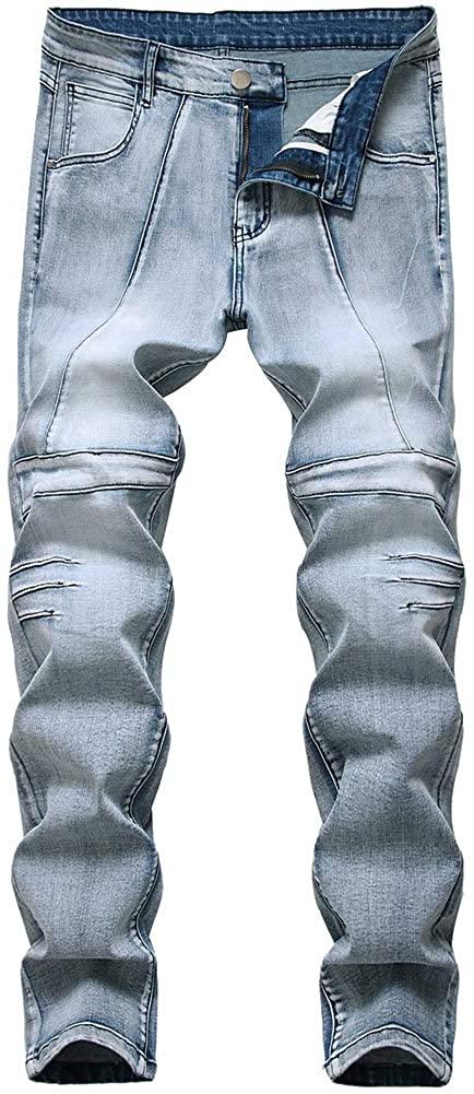 LONGBIDA Men's Skinny Slim Fit Stretchy Fashion Biker Jeans Distressed Tapered Leg Denim Pants