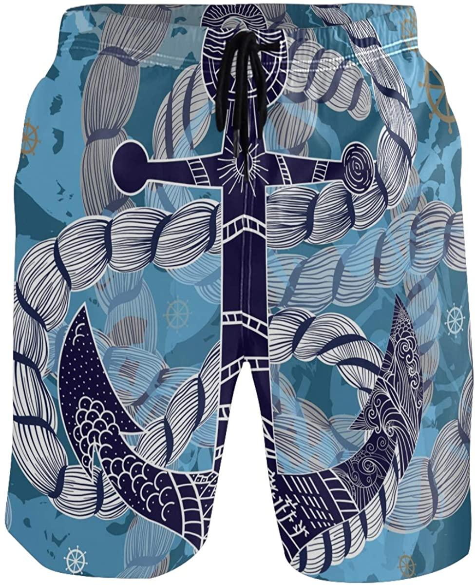 Men's Swim Trunks - Anchor with Rope Beach Short Men Quick Dry Bathing Suit Shorts