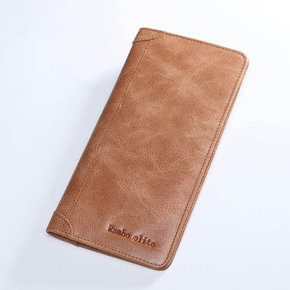 Mens Leather Growth Model Soft Leather Ultra-Thin Mobile Phone Bag Head Layer Cowhide Doka Bit Retro Hand Bag RFID Shielding Wallet