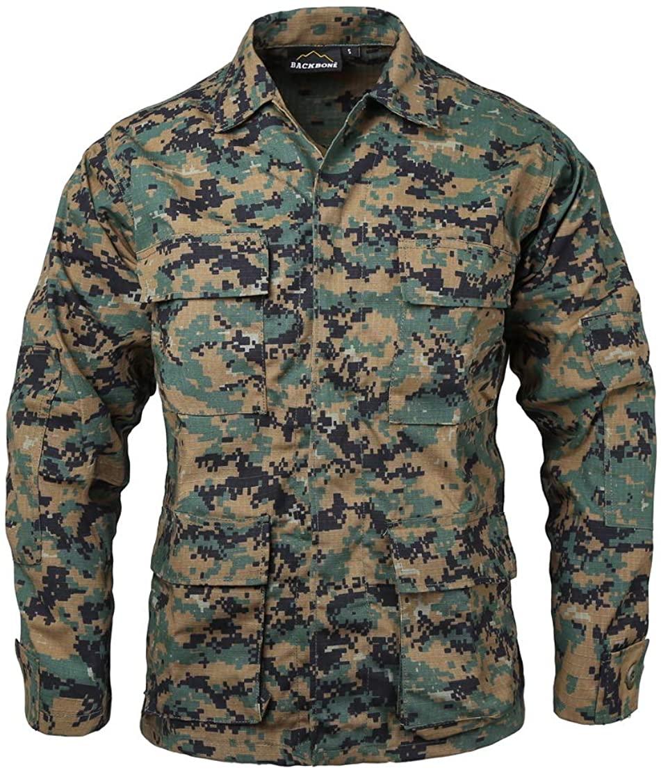BACKBONE Mens Army Military Battle Dress Uniform BDU Shirt Camo Top Jacket