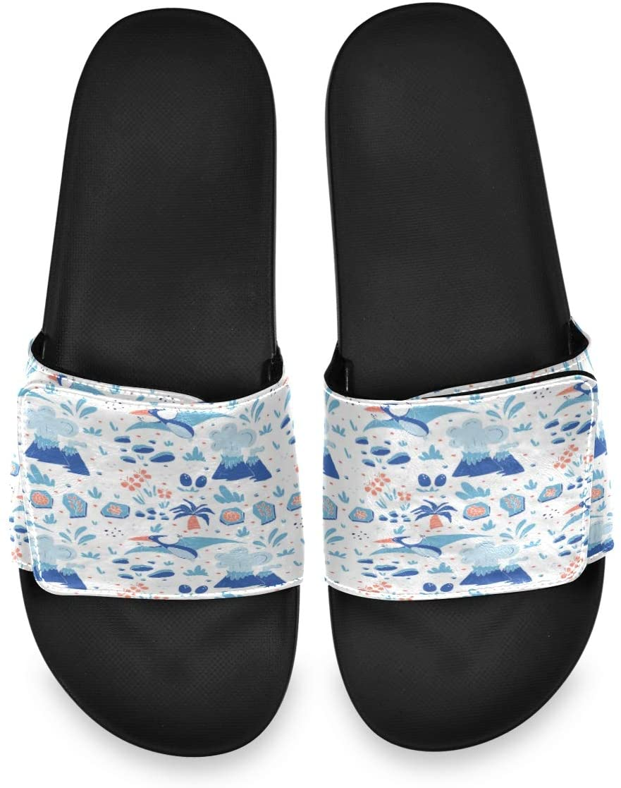 All agree Funny Dinosaurs Jubilant Pterosaur Blue Mens House Indoor Outdoor Bedroom Slippers Adjustable Sandals