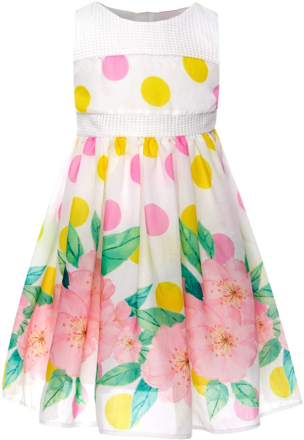 Bonny Billy Girls Spring Dresses Special Bodice Polka Dot Big Flower Print Outfits 3-11t