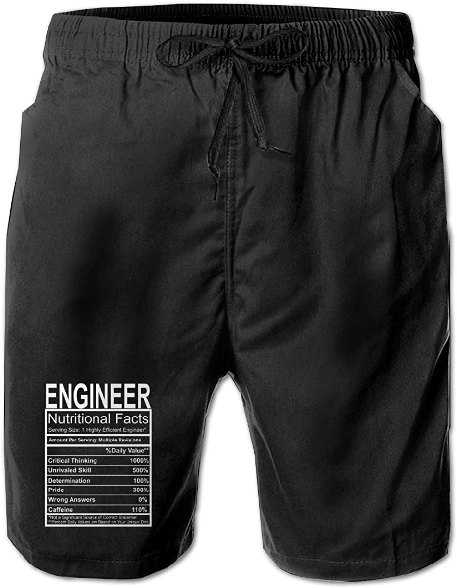 Engineer Gift Nutritional Facts Men Summer Beach Shorts,Casual Shorts Beach Shorts Pocket Shorts