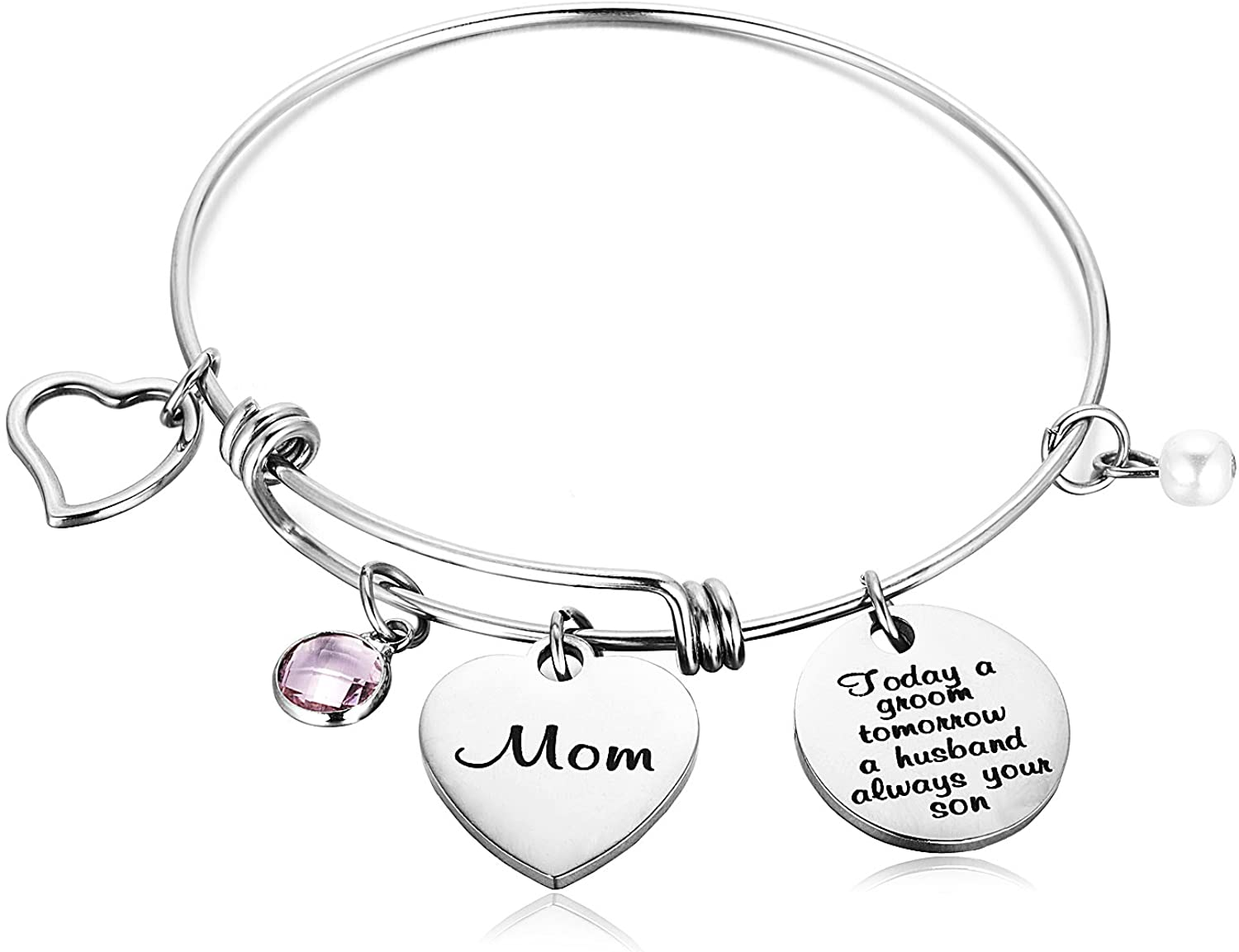 FAINOL Mother of The Groom Bracelet Gift - Today a Groom Tomorrow a Husband Always Your Son Wedding Bracelet - Pearl Birthstone, Stainless Steel Bracelet - Ideal Bracelet Gift for Mother in Law