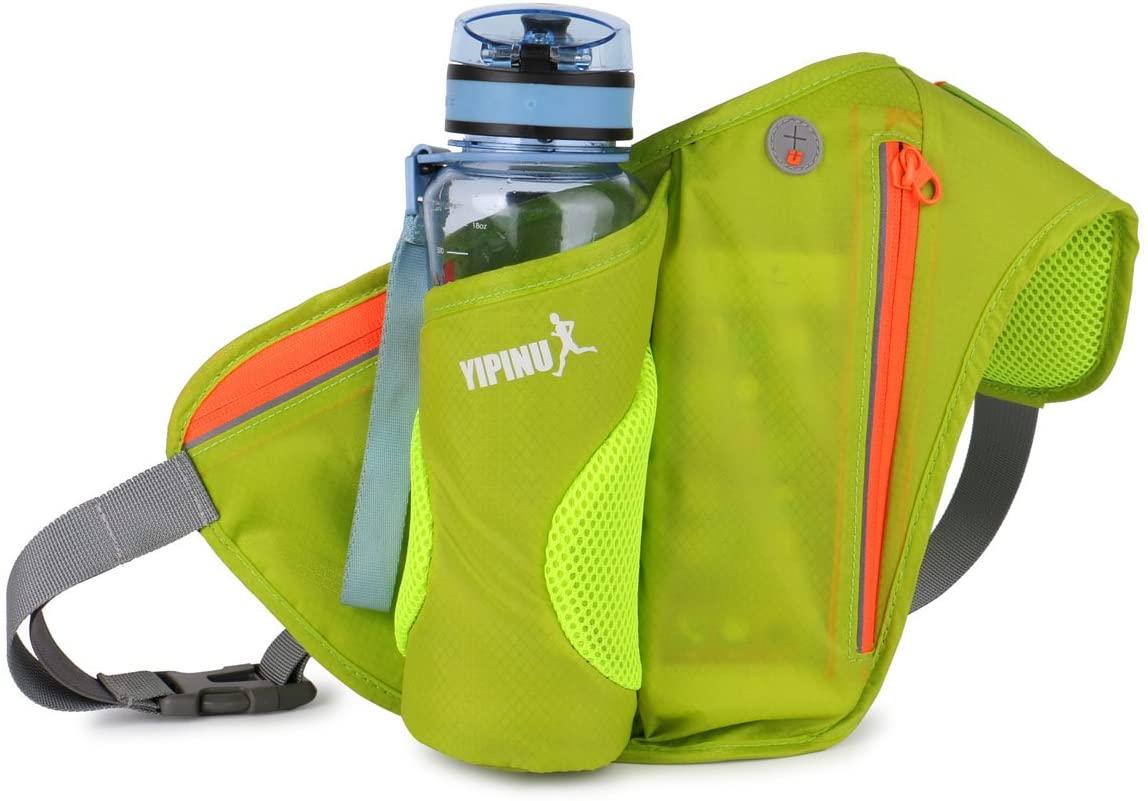 YEMEKE Fanny Pack with Water Bottle Holder Men Women Hiking Waist Packs for Walking Running Runners fit for 6'' MobIEPhone (Green)