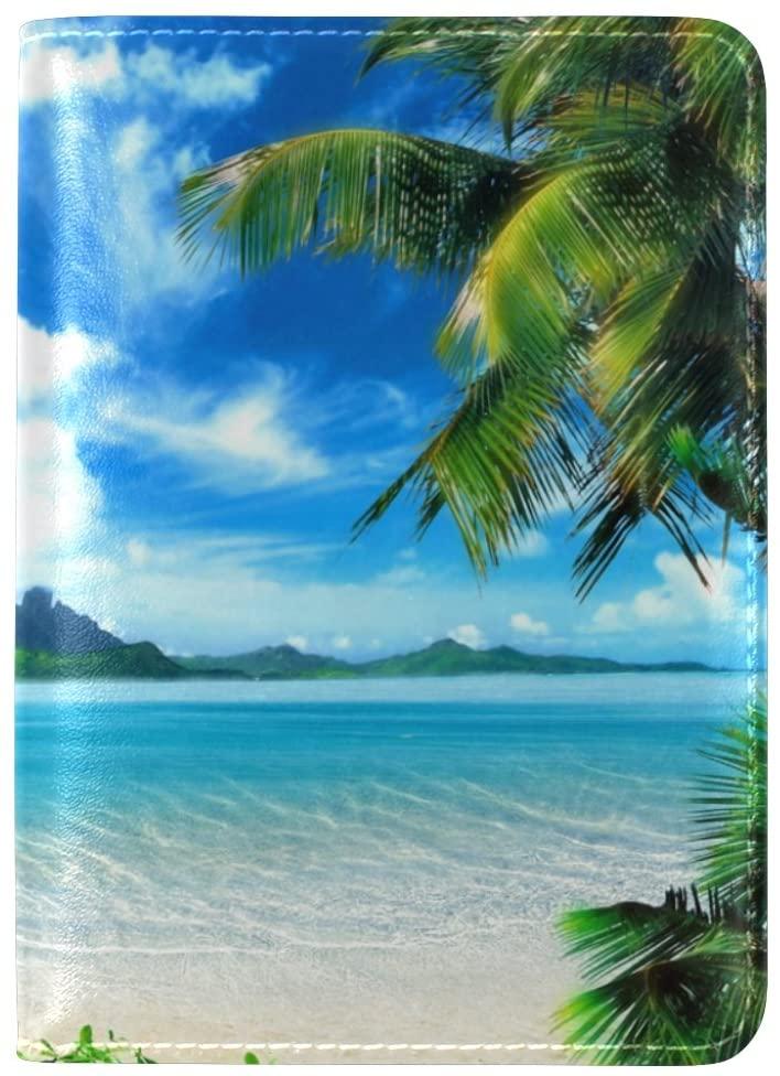 ALAZA Tropical Coast Beach Palm Leaf Leather Passport Holder Cover Case Travel One Pocket