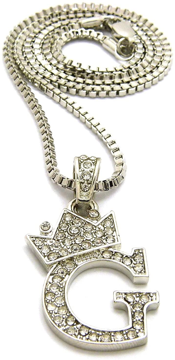 Crown Stone Stud King Small Initial Letter Pendant with 24 Box Chain Necklace