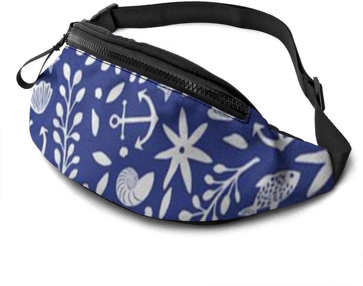 Ocean Pattern Fanny Pack For Men Women Waist Pack Bag With Headphone Jack And Zipper Pockets Adjustable Straps