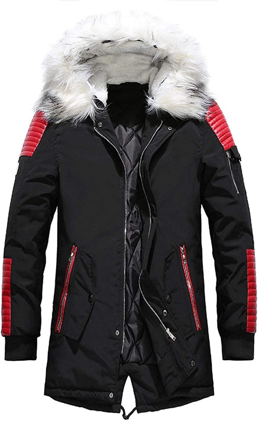 D.B.M Men's Fashion Long-Sleeved Thick Fur Collar Zipper Hooded Cotton Coat