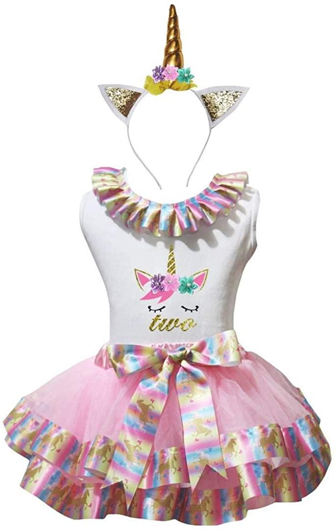 Leaf Sison 1st-6th Unicorn Face White Shirt Pink Petal Skirt Headband Nb-8y