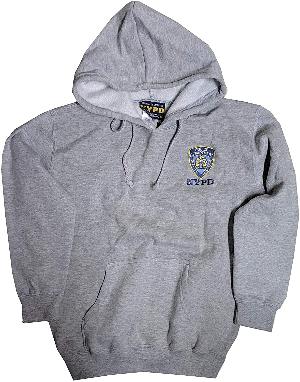 NYC FACTORY NYPD Kids Hoodie Embroidered Sweatshirt Gray