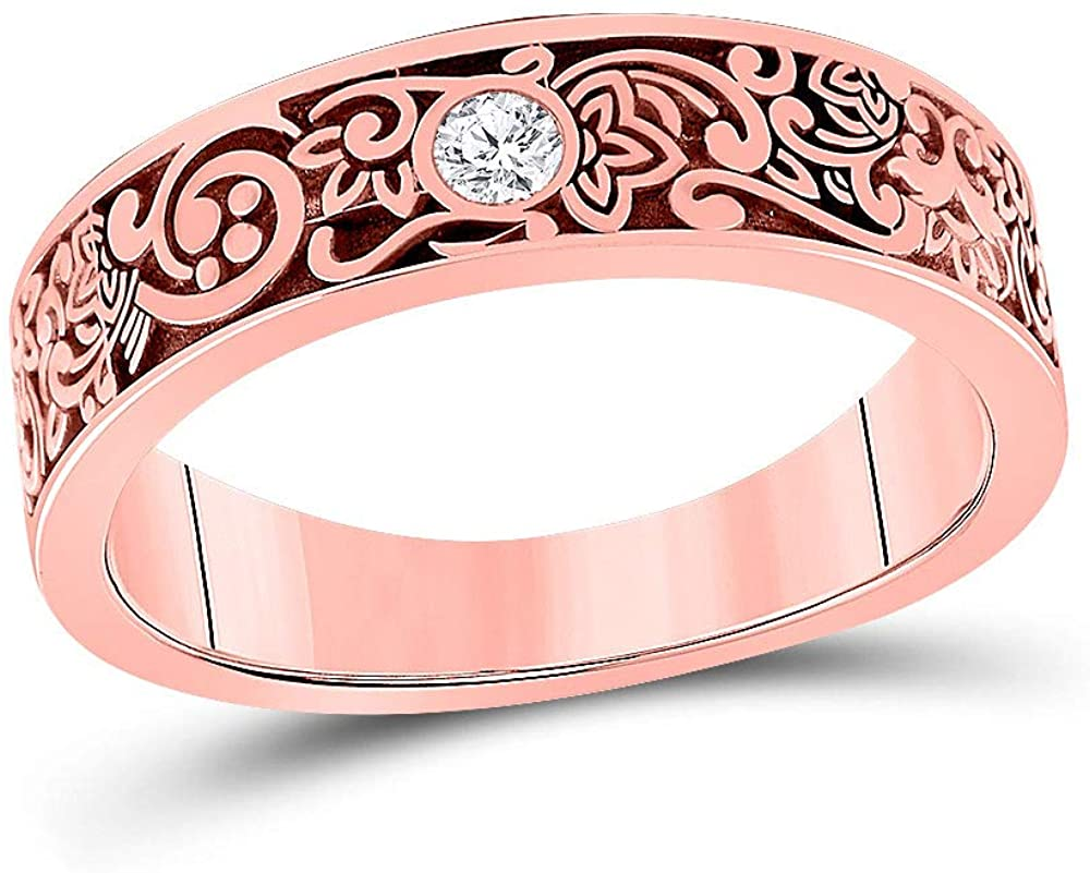 Dazzlingrock Collection 14kt Rose Gold Mens Round Diamond Wedding Floral Band Ring 1/12 Cttw