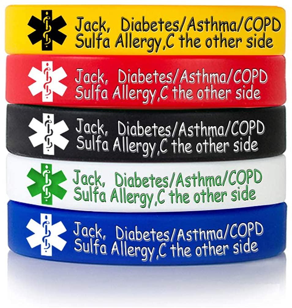 MZZJ Custom Engraving Medical Alert ID Jewelry Allergy ID Food Drug Allergy Bracelet,100% Silicone Rubber ID Bracelet Band,5 Color Set,Multiple Size 5.5