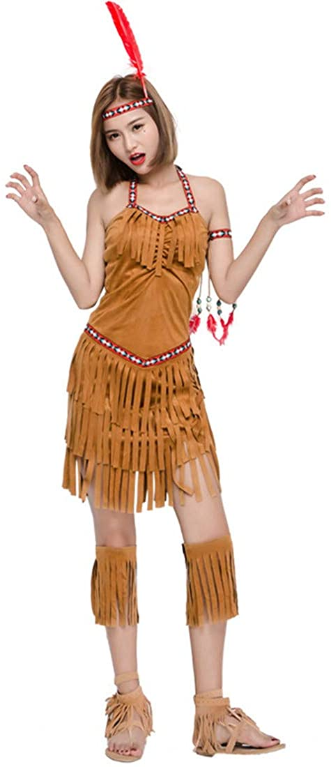 Women Indian Carnival Bonfire Cosplay Tassel Primordial Costume Dress Clothing