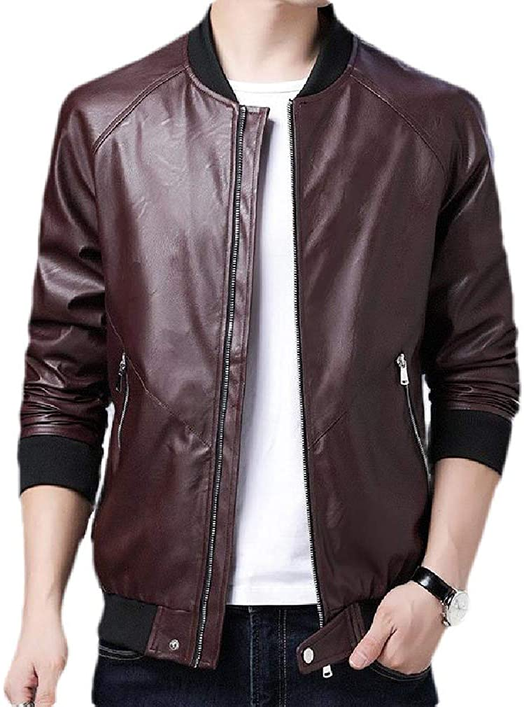 Loyomobak Mens Slim Full Zip Faux Leather Casual Stand Collar Jacket
