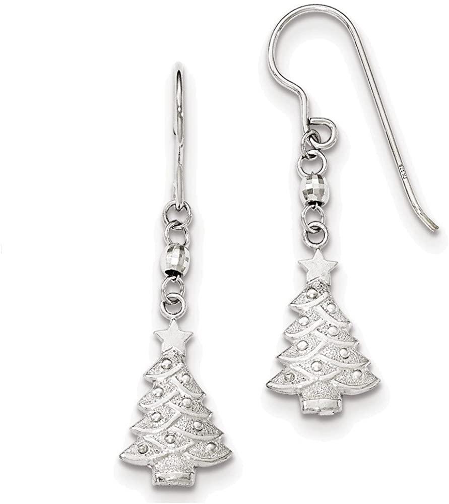 Sterling Silver Rhodium Plated Christmas Tree Dangle Earrings