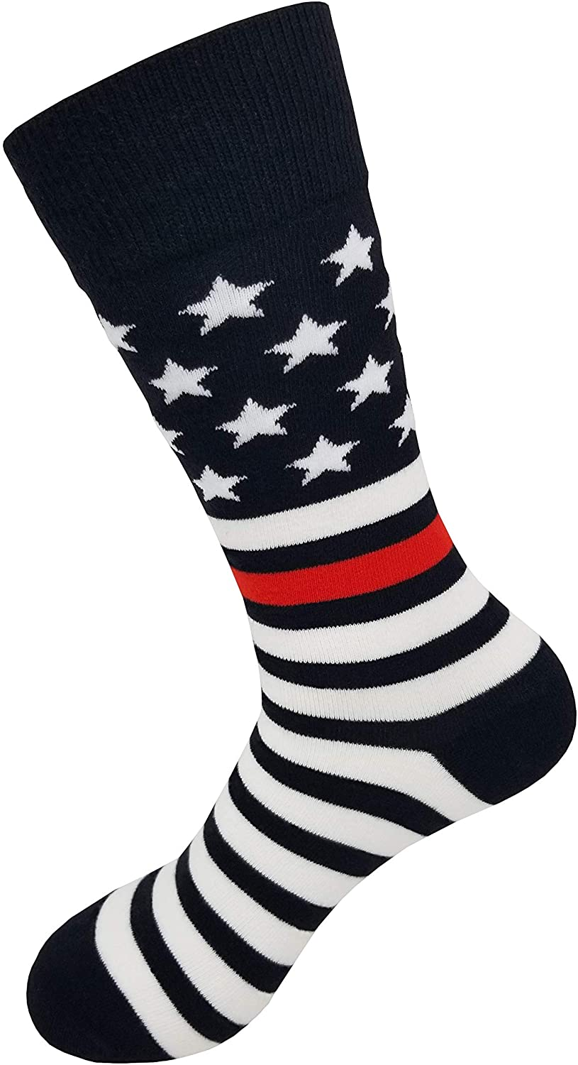 American Flag Thin Red Line Socks, Support Firefighter First Responders, USA Patriotic Crew Socks