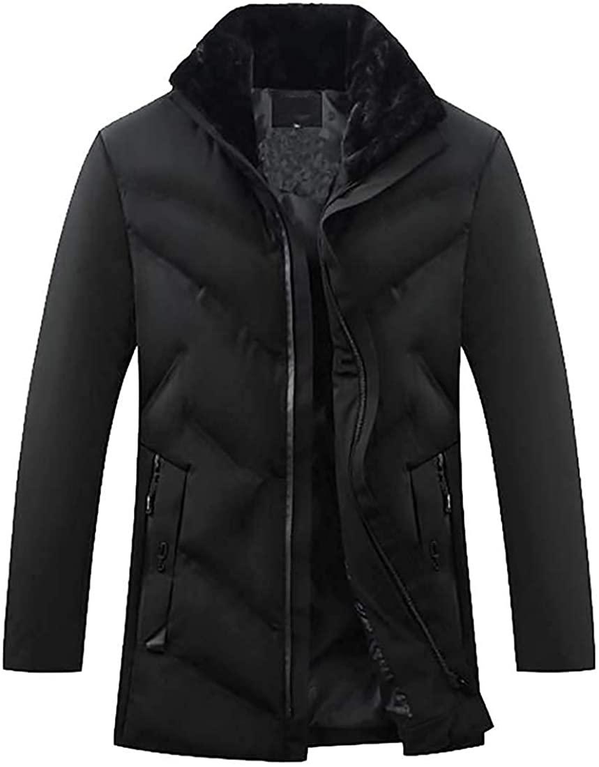 Gjkhsdfkj Men's Down Quilted Jacket Faux Fur Collar Thicken Loose Down Quilted Coat Jacket Outwear
