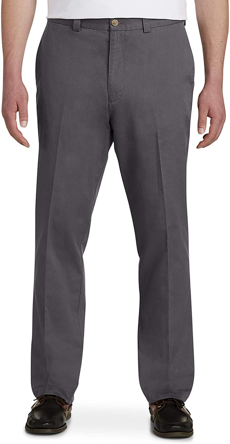 Harbor Bay by DXL Big and Tall Waist-Relaxer Pants, Charcoal, 54R 28