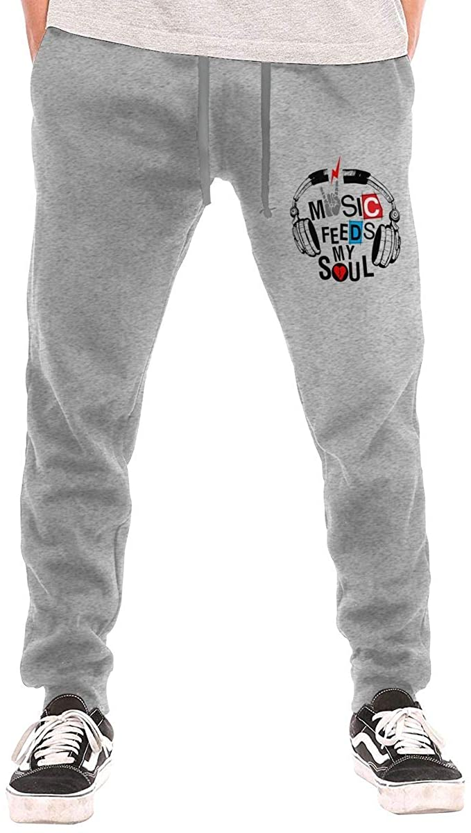 Hjgs Music is My Life Men's Casual Joggers Pants Trousers Sweatpants with Drawstring