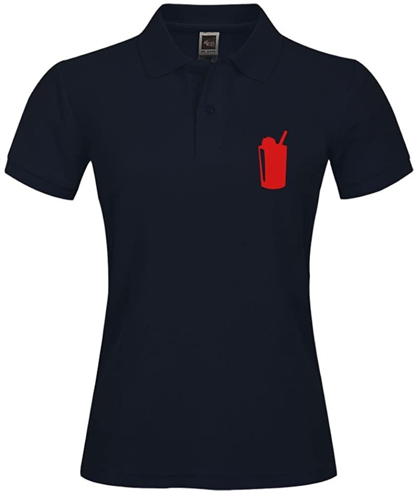 JermaiJohn Stylish Polo Shirt Outdoor Sport Short Shirt with Collar Ûžâ¥Strawberry Smoothie-Vector Drink Designâ¥Ûž Printed