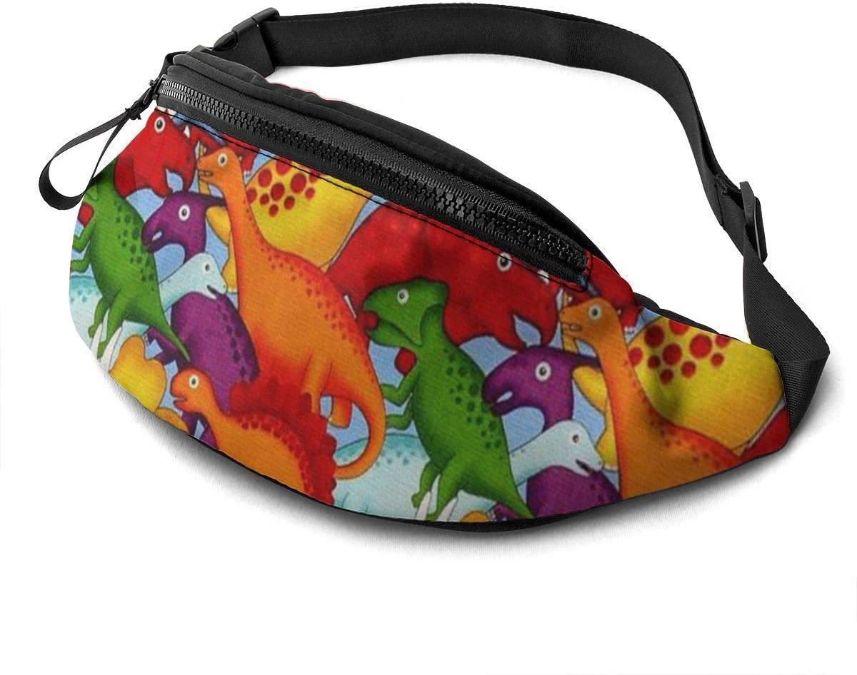Multicolor Dinosaur Fanny Pack For Men Women Waist Pack Bag With Headphone Jack And Zipper Pockets Adjustable Straps