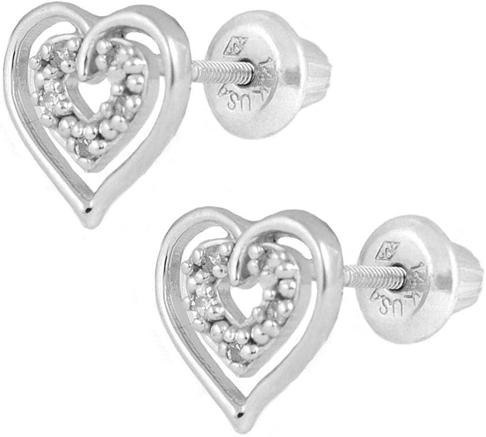 14K White Gold Diamond Open Heart Screw Back Stud Earrings For Girls