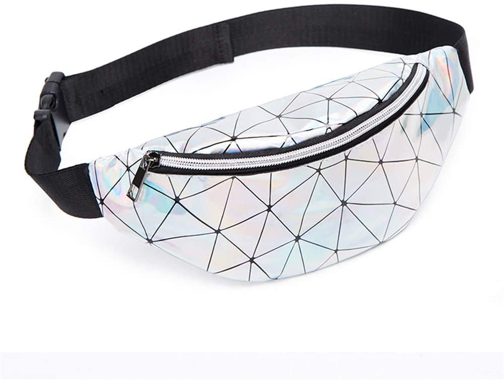 Waterproof Shiny Fanny Packs for Women, Girls——Fashion Holographic Lattice Waist Packs for Rave Beach Travelling Party Festival (Silver One Zipper)