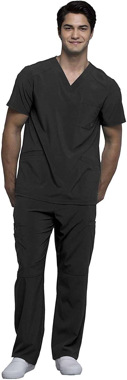 Cherokee Infinity Men's V-Neck Top with Certainty CK900A & Drawstring Cargo Pant CK200A Scrub Set (Black - XX-Large/XXX-Large)