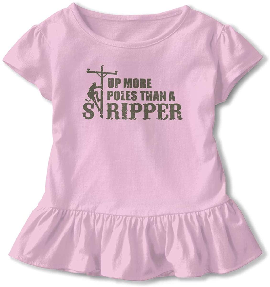 EASON-G Toddler Girl's Ruffle T-Shirt Up More Poles Than A Stripper Short Sleeve 2-6T