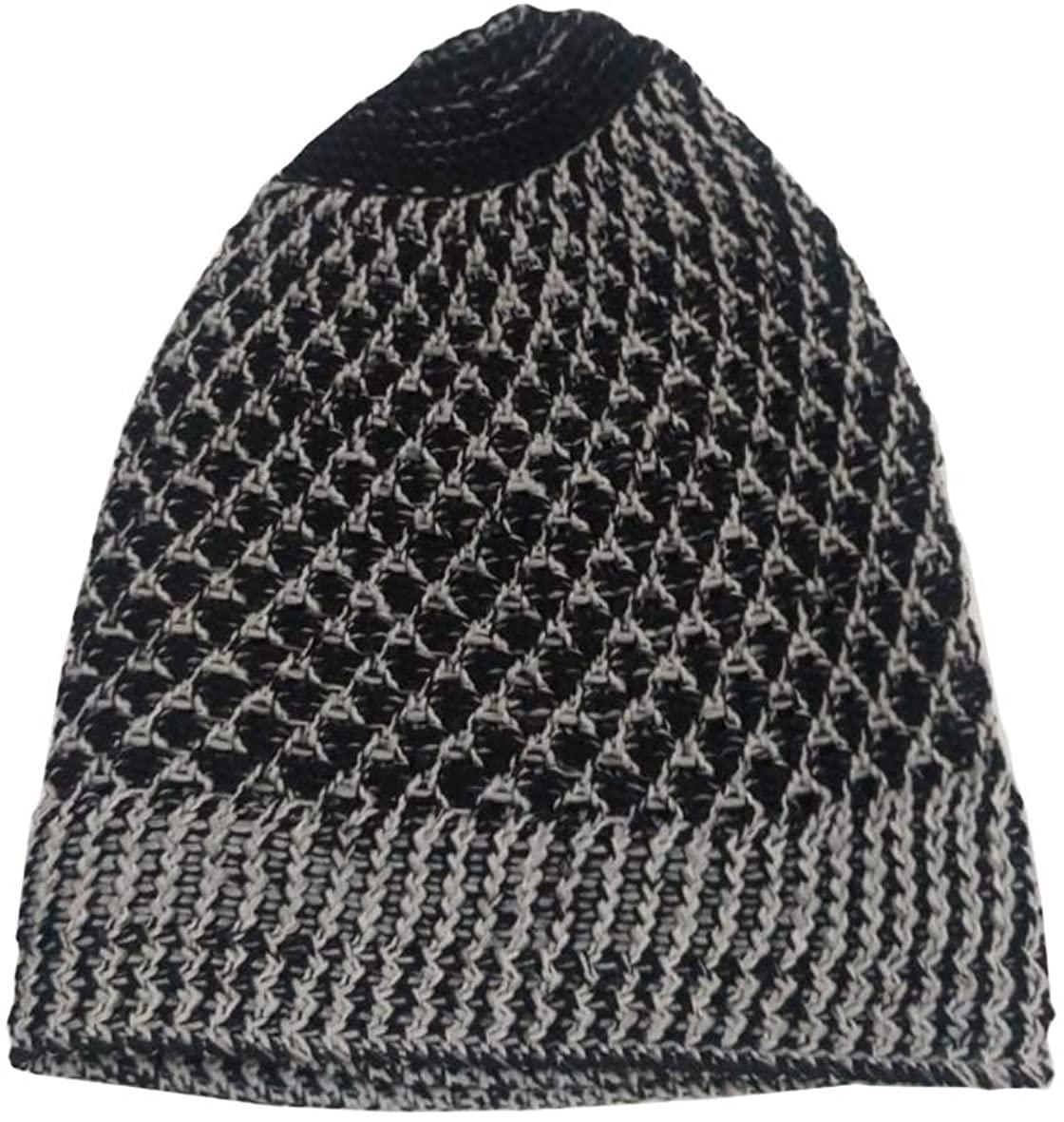 TheKufi Faded Grey Black Open-Weave Woven Nylon Stretchy Kufi Hat Skull Cap Beanie