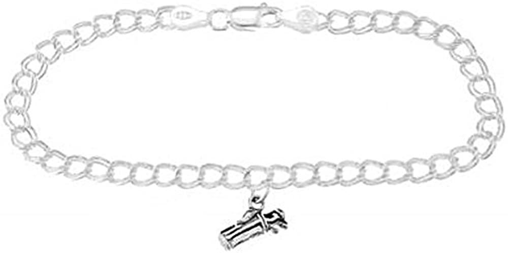 Sterling Silver Golf Bag with Clubs on 4 Millimeter Charm Bracelet