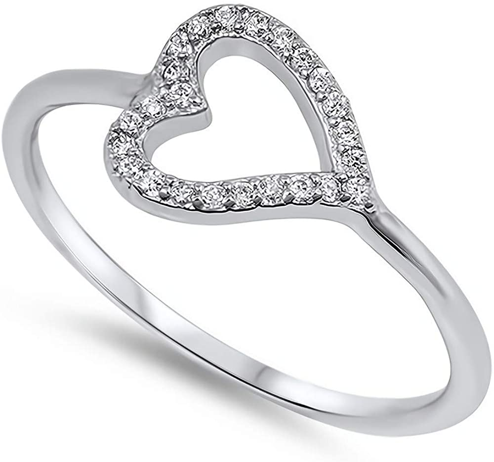 Glitzs Jewels 925 Sterling Silver CZ Ring (Clear/Heart)   Cubic Zirconia Jewelry Gift