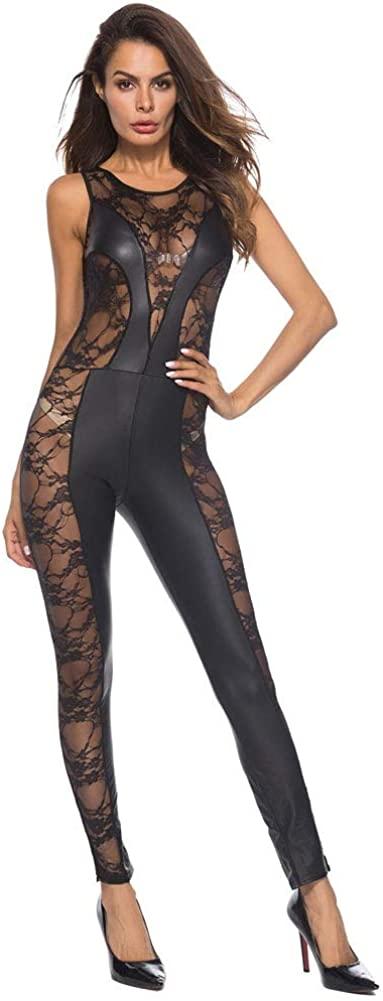 Underwear Jin-Siu Sexy Women's Sexy Bodysuit Sleeveless Lace Teddy Perspective Pole Dance Uniform Lingerie Set