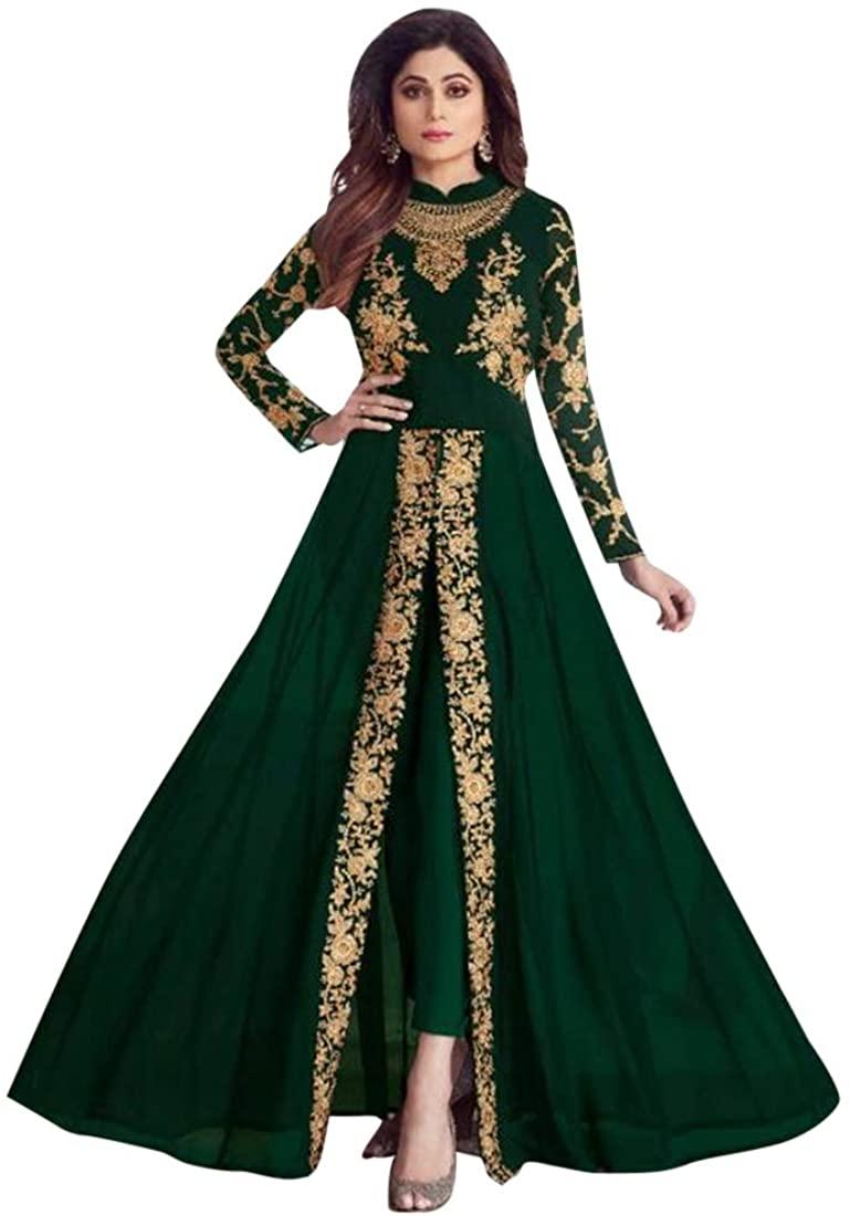 Green Georgette Indian Front split Anarkali Pant style Salwar Kameez Suit Women Party wear 8133
