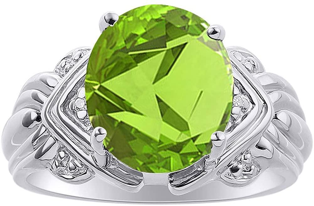 Diamond & Peridot Ring Set In 14K White Gold - 12 X 10MM Color Stone Birthstone Ring