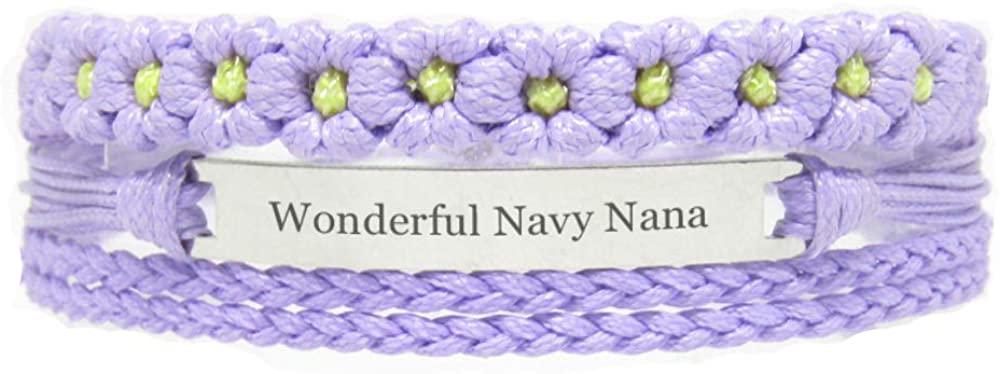 Miiras Family Engraved Handmade Bracelet - Wonderful Navy Nana - Purple FL - Made of Braided Rope and Stainless Steel - Gift for Navy Nana