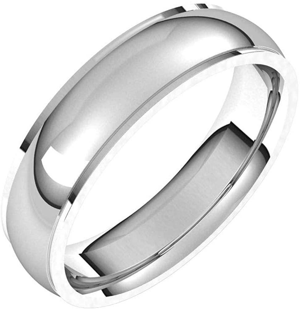 Solid Palladium 5mm Comfort Fit Edge Wedding Band Size 13