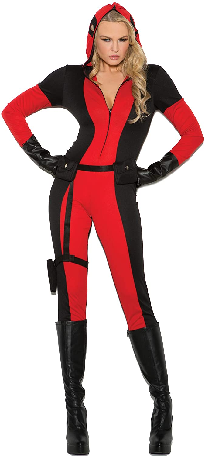 Vigil Ante Costume Jumpsuit Zip Hood/Mask, Utility Belt/Strap Holster, Gloves