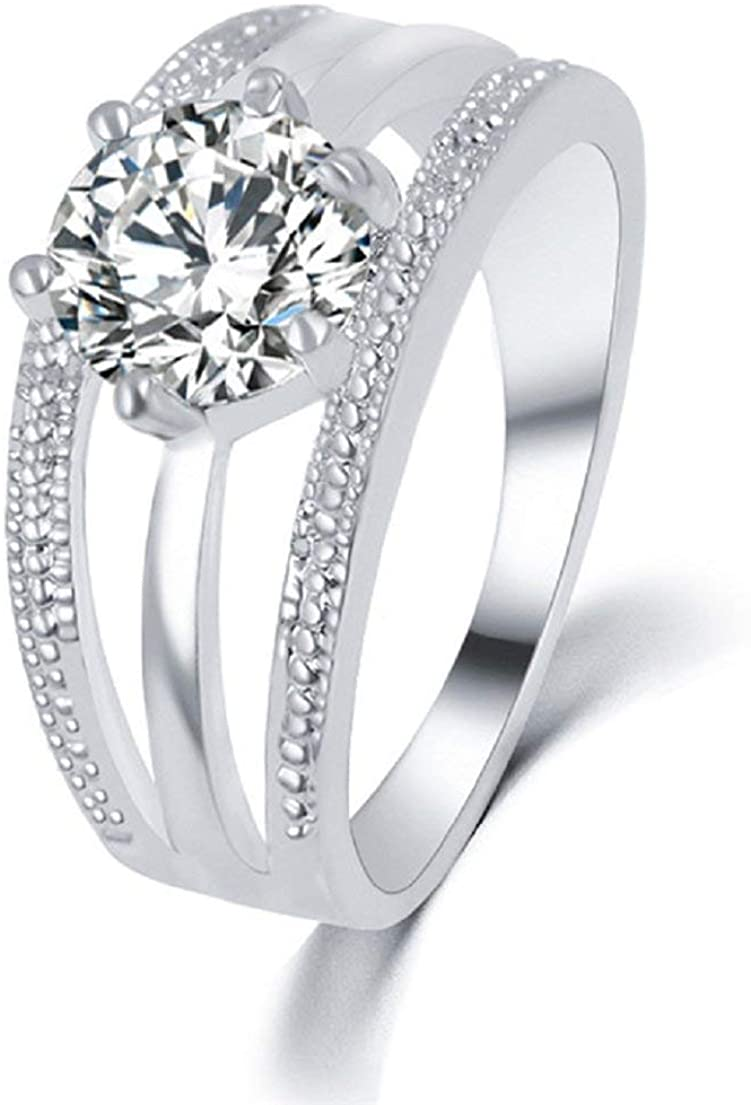 Glitz Silver Color Anelli Flower 9.0 Austrian Crystals Engagement Ring for Women/Girls