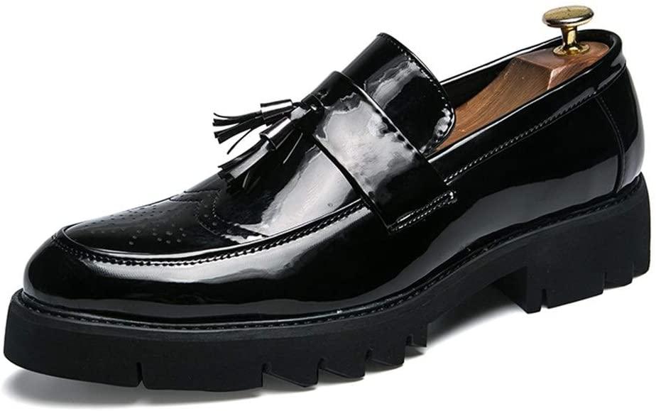 Zhukeke Men's Dress Oxfords for Men Round Toe Business Casual Loafers Slip on Formal Dress Shoes Microfiber Leather Abrasion Resistant Wear-Resistant Fashion (Color : Black, Size : 8 M US)