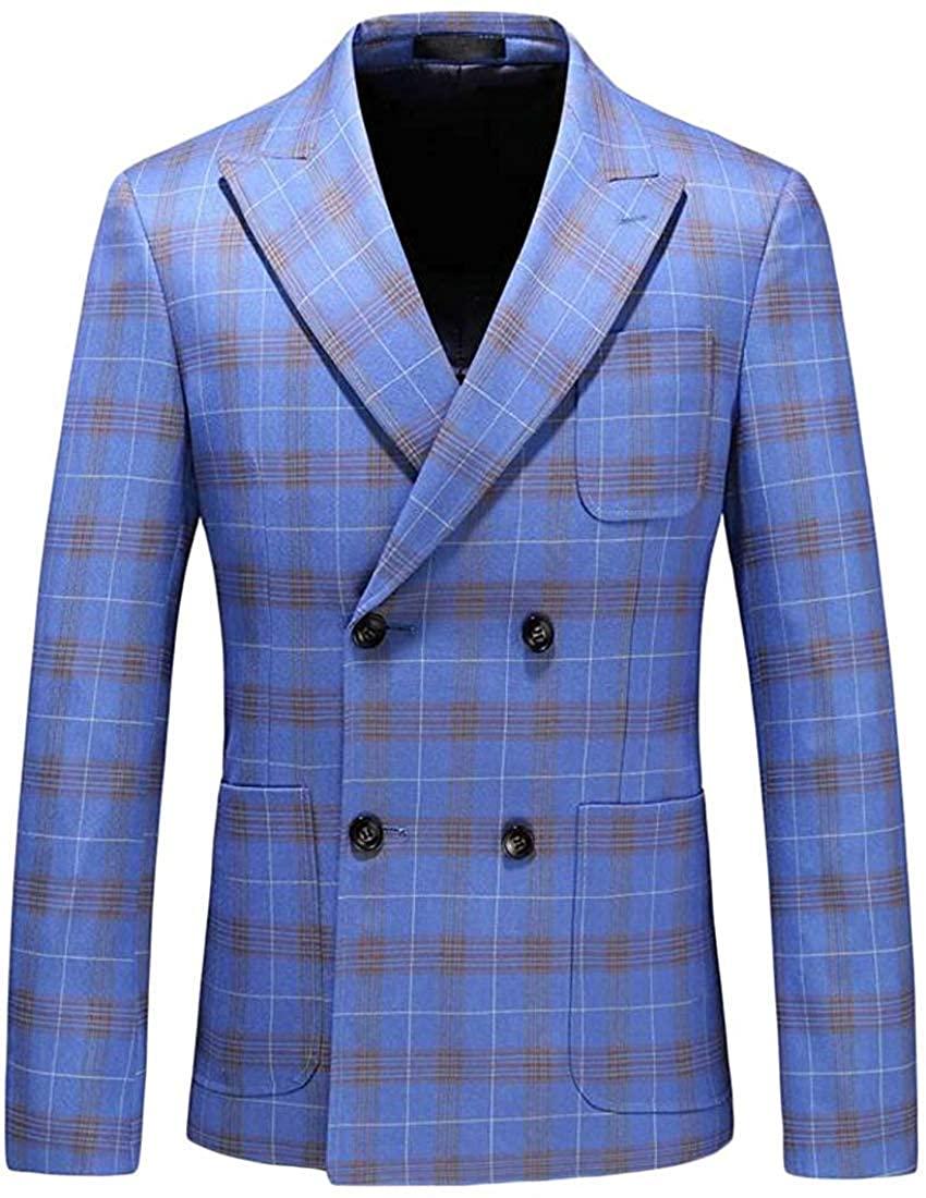 Mens Classic Sport Coat Notched Lapel Plaid Slim Fit Blazer Jacket