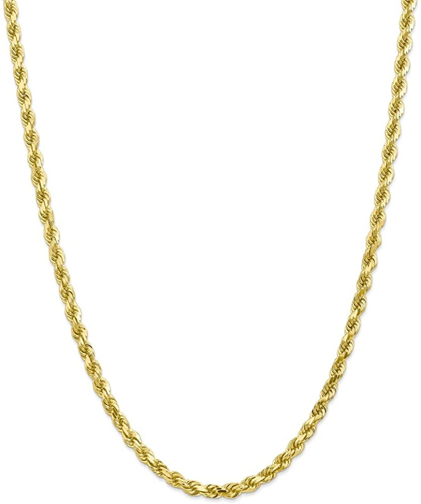 10K Yellow Gold necklace Rope chain Diamond-cut 18 in 5 mm
