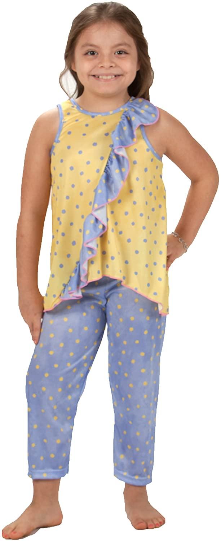 Laura Dare Little Girls Buttercup Vertical Ruffle PJ Set